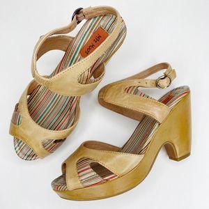 Miz Mooz Tan Panama Chunky Peep Toe Heels
